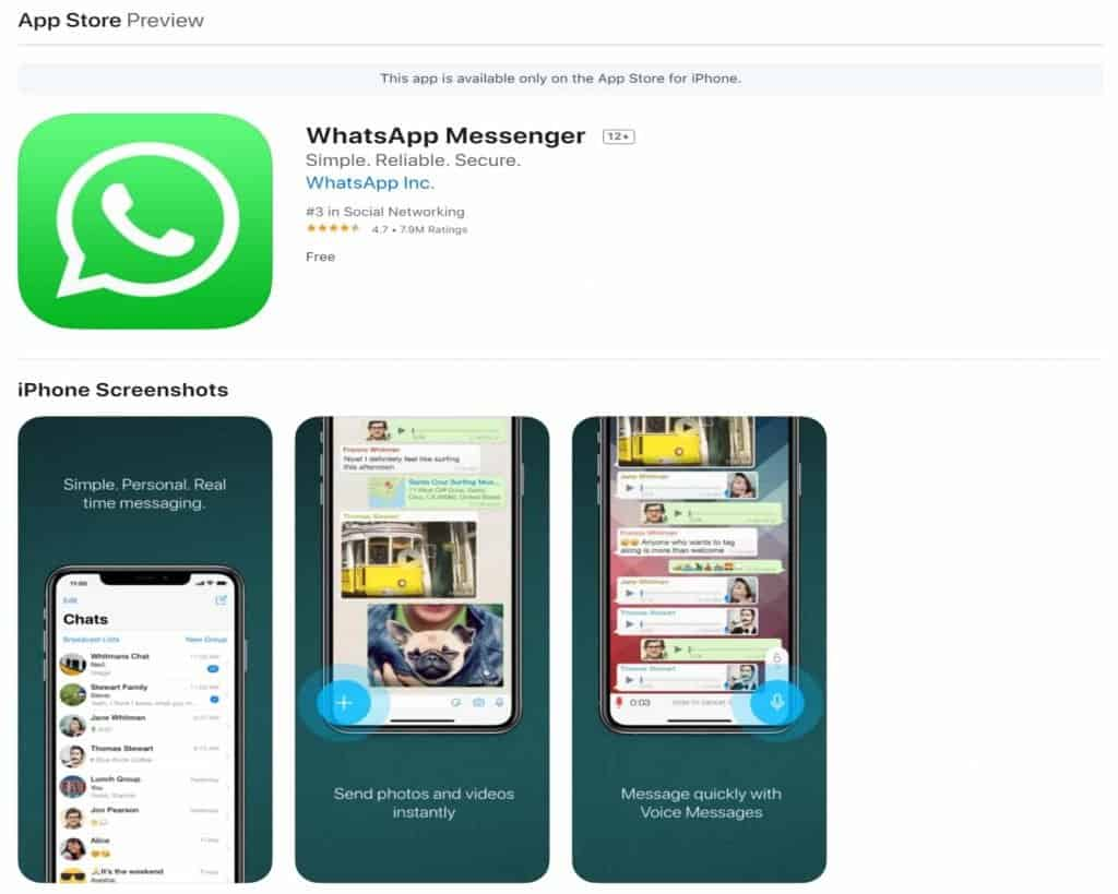 Download Whatsapp on App Store.